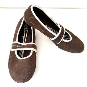 Champion Suede Ballet Flats with Strap